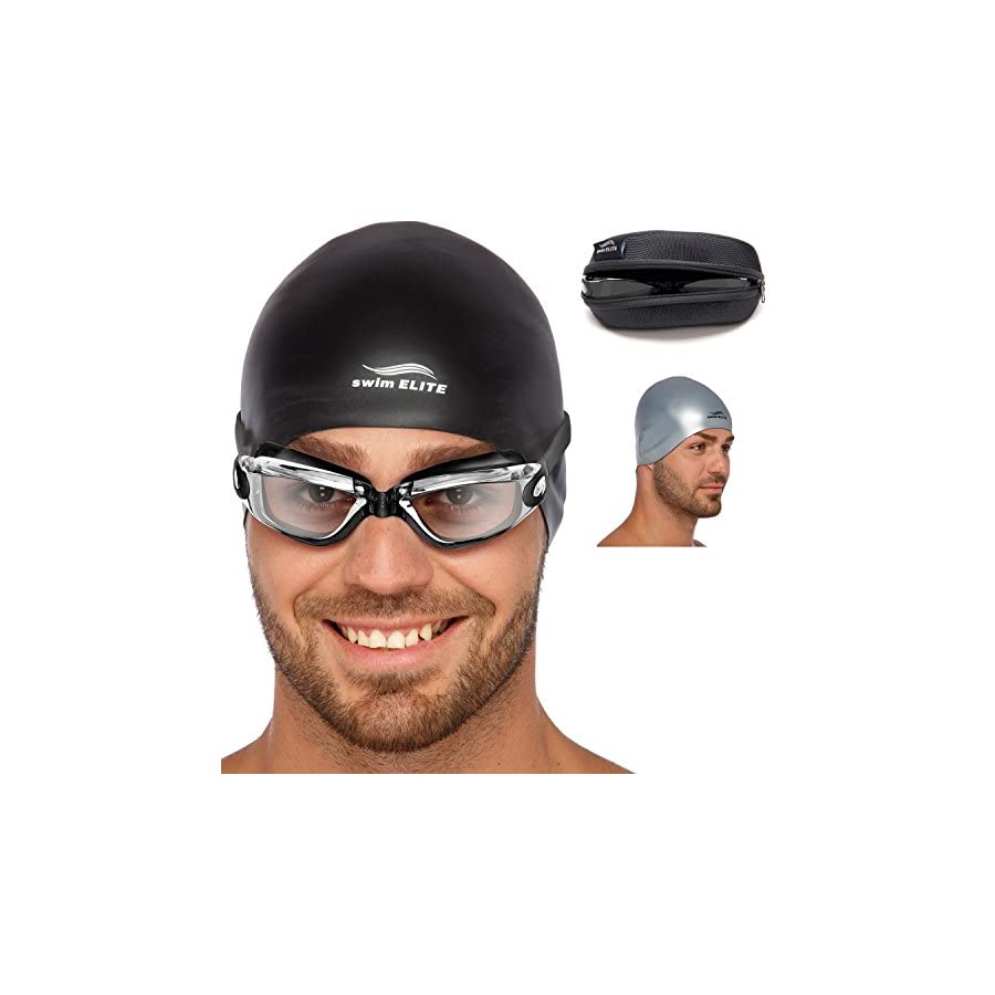 Adult Swim Goggles for Men and Women + Reversible Swimming Cap + Protective Case Set | Swimming Pool Goggles Underwater Goggles Swimming Glasses & Swim Goggles for Women & Men | Goggles Adult