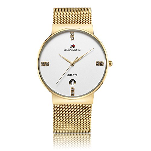 ALIENWOLF Men's Wrist Quartz Analog Watch Dress Casual Classic Business Watches with Stainless Steel Case, (Classic Gold Dress Watch)