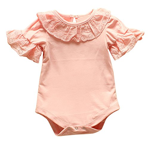 Birdfly Toddler Baby Girls Cute Eyelets Ruffle Rompers Short Sleeve Bodysuit Onesies Infant Clothes (24M, Pink) Eyelet Romper