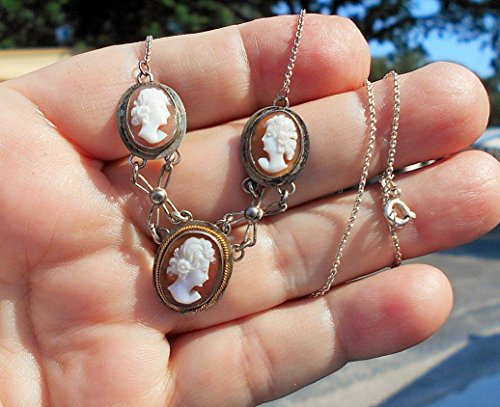 3 Antique Hand Carved Shell Cameos on 835 Silver drop Necklace. Beautiful Dainty Carnelian Cameo Carvings.