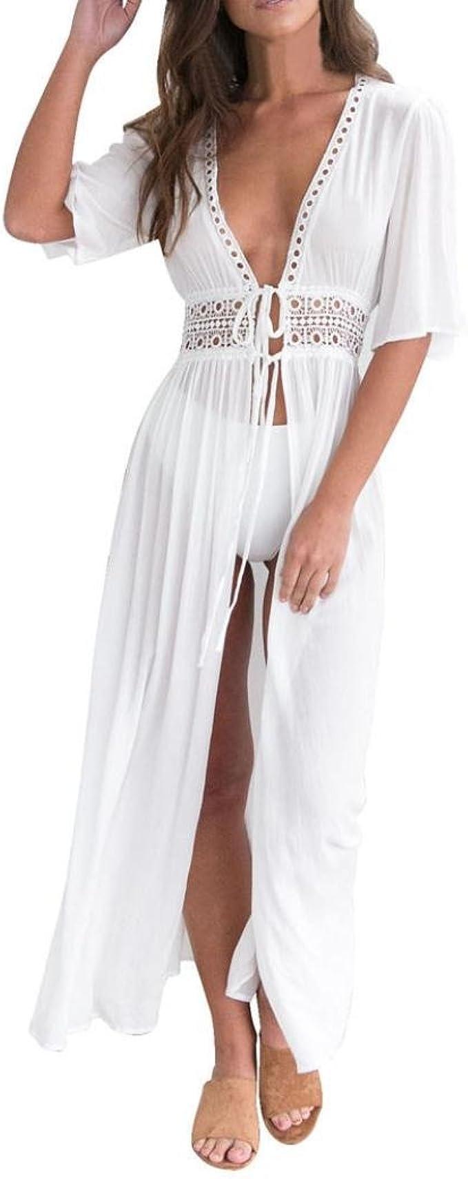 Kleid Damen Maxikleid Kolylong® Frauen V-Ausschnitt Elegantes weißes langes  Kleid Sommer Strandkleid Party Kleid Badeanzug Kleid Bikini Badebekleidung
