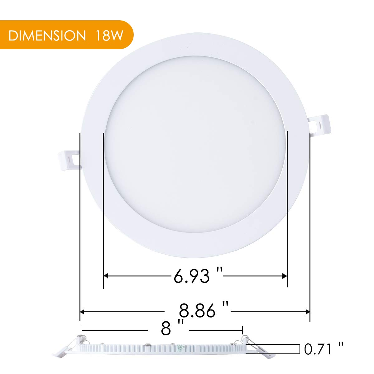 Pack of 5 zhaosheng 6 Inch Ultra-Slim Dimmable Round LED Recessed Panel Light 12W Kitchen Foyer Hallway Office Commercial Lighting 6500K//4000K//3000K Warm White//Nature//Cool White Recessed Lighting
