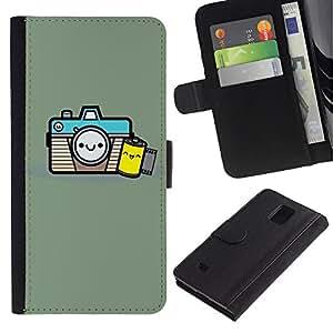 iKiki Tech / Cartera Funda Carcasa - Photographer Film Smile - Samsung Galaxy Note 4 SM-N910F SM-N910K SM-N910C SM-N910W8 SM-N910U SM-N910