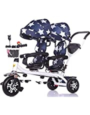 Trike Tricycle Trike Baby cart Baby Carriage Children's Double Tricycle Twin Baby Bicycle Light Trolley Big Stroller Extended Awning Storage Basket Baby Carriage (Color : B) (Color : C)