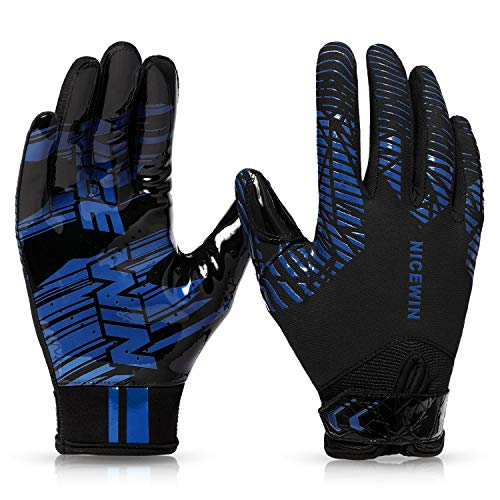 NICEWIN Football Gloves Adult Softball Biking Glove for Men Women Blue-Small-Adult