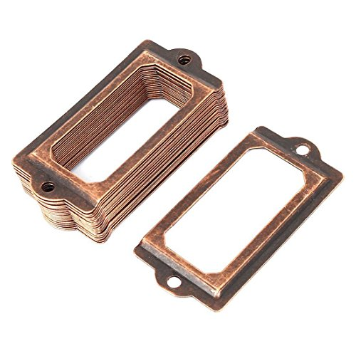 TOOGOO 20 Pcs Cabinet Cabinet Shelf Painter Name Card Marking Holder 70mmx33mm Red bronze