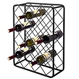 Metal Tabletop 24-Bottle Rectangular Wine Bottle Display Rack Diamond Design, Black