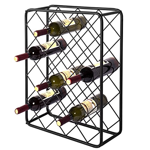 (MyGift Industrial-Style Black Metal Tabletop 24-Bottle Rectangular Wine Bottle Display Rack with Diamond Design)