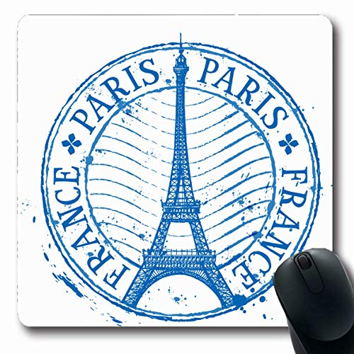 Ahawoso Mousepad Oblong 7.9x9.8 Inches Sketch Eiffel Paris Shabby Stamp Tower Post Travel Europe Vintage Design Drawn Office Computer Laptop Notebook Mouse Pad,Non-Slip Rubber