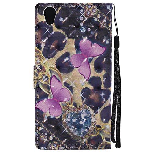 For SONY Xperia E6/L1 PU Leder Folio Schutzhülle Hülle,Romantisches Mädchen Rose 3D Cartoon Muster und Brieftasche Fall mit Magnetverschluss Hybrid-Kickstand Stand Funktion -Baum Mädchen Rosa Schmetterling
