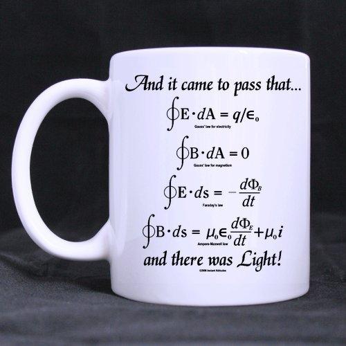 Novelty Design 11oz Mathematical Math Formulas Mug, God Said Maxwell Equations and There Was Light White Ceramic Coffee Mugs Cup - Top Quality