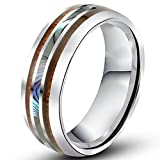 Men Women 8mm Tungsten Silver Vintage Wedding Engagement White Band with Shell Koa Wood Inlay Domed Ring Size 10