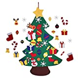 Felt Christmas Tree DIY Ornaments Wall Decor Hanging Rope 37.8 inch Handmade Detachable Xmas Gifts for Kids New Year Door Wall Hanging Decoration 28pcs