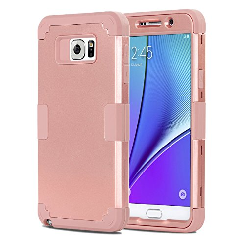 Galaxy Note 5 Case, BENTOBEN Samsung Galaxy Note 5 Case 3-in-1 Hybrid Shockproof Anti Scratch Polycarbonate Hard Covers for Upper and Bottom Soft Silicone for Interior Cover, Rose Gold/Rose Gold (Phone Case Samsung Galaxy 5)