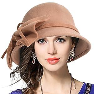 VECRY Women's 100% Wool Bucket Hat Felt Cloche Bow Dress Winter Hats