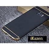 ikazen Luxury Hybrid *3-in-1 SHOCKPROOF* Dual Layer Thin Ultra Slim Back Case for Samsung S7 Edge (Black/gold)