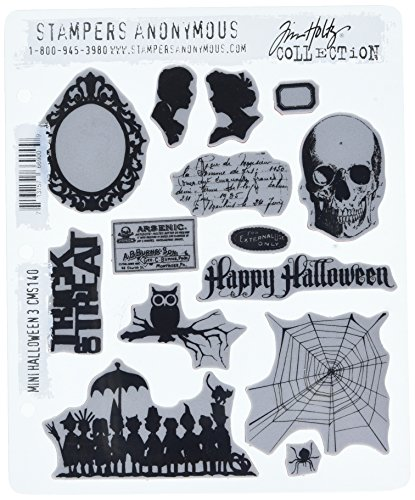 Stampers Anonymous Tim Holtz Cling Rubber Stamp Set, 7 by 8.5-Inch, Mini Halloween - Stamp Set Halloween