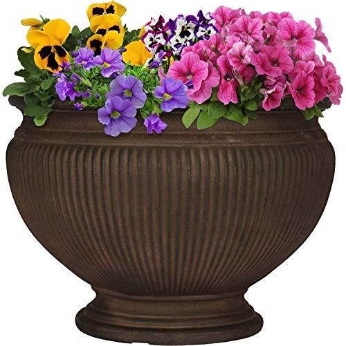(Sunnydaze Elizabeth Ribbed Urn Flower Pot Planter, Outdoor/Indoor Extra-Durable Double-Walled Polyresin, UV-Resistant Rust Finish, Single, 16-Inch Diameter)