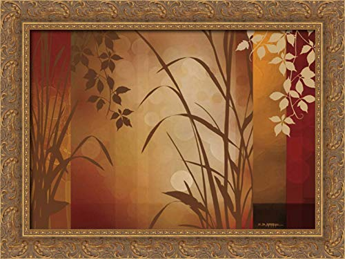 (Flaxen Silhouette 24x17 Gold Ornate Wood Framed Canvas Art by Aparicio, Edward)