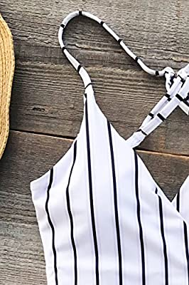 CUPSHE Women's Stay Young Stripe One-Piece Swimsuit Beach Swimwear Bathing Suit