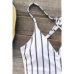 - 5196W7liI 2BL - CUPSHE Women's Stay Young Stripe One-Piece Swimsuit Beach Swimwear Bathing Suit