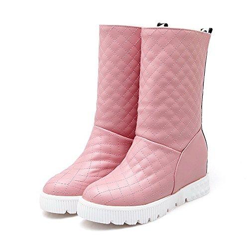 AgooLar Damen Rund Zehe Ziehen auf Gemischte Farbe Mittler Absatz Stiefel, Pink, 34