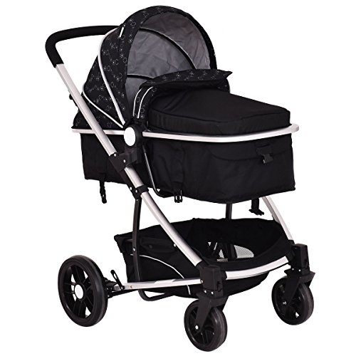 Costzon Baby Stroller 2 in 1 Foldable Infant Buggy Pushchair (Black)