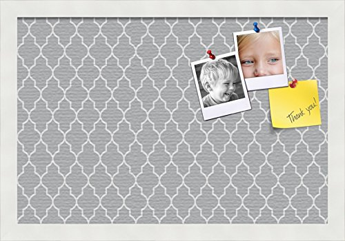 PinPix pin Cork Bulletin Board Made from Canvas, Quatrefoil Patterns 18 x 12 Inches (Completed Size) and Framed in Satin White Frame -