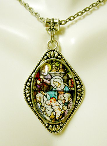Nativity stained glass window pendant - AP26-278 (278 Glasses)