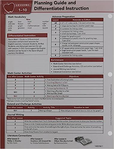Saxon Math 1: Teacher's Manual Tabs Set: SAXON PUBLISHERS