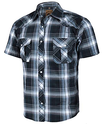 (Coevals Club Men's Short Sleeve Casual Western Plaid Snap Buttons Shirt (2XL, 9#gray,black))