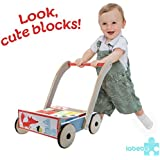 Labebe Baby Walker with Wheel, Blue Fox Printed Wooden Push Toy, 3-in-1 Activity Walker for Baby 1-3 Years, Toddler Walker/Child Walker Stand/Wooden Walker/Push Walker/Baby Wagon/Baby Push Toy Walker