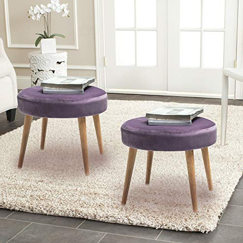 TINA S HOME Mid-Century Modern Tufted Large Velvet Round Footrest Footstool Ottoman Set of 2 – Purple