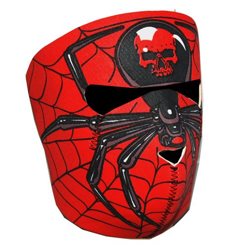 New Half Face Motorcycle Snowmobile Snowboard Ski Balaclava Face Mask Red Spider - Motorcycle Spider