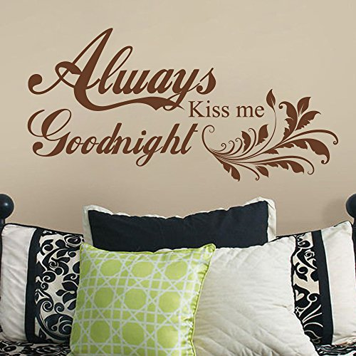 GECKOO Nursery Decor-Always Kiss Me Goodnight - Love Quote Decals Bedroom Headboard Sticker(Black, - Shipping Usps First Class International Time