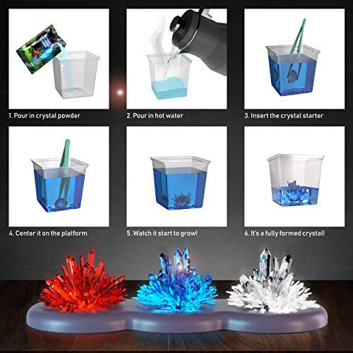 Mini Explorer Light-up Crystal Growing Kit - Grow Your Own Crystals and Make Them Glow! Great Science Expirement Gift for Kids, Boys & Girls | STEM Toys | Crystal Making (Red White Blue)