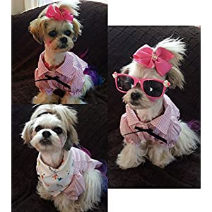Dog Shirts Lightweight Polo Tshirts Summer Clothes | Pet Puppy Stripe Clothing Pink Size M