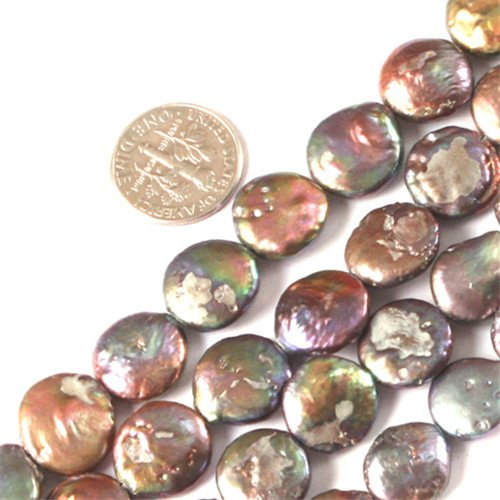 GEM-inside 11-12mm Coin Brownish Black Freshwater Cultured Pearl Dyed Beads Strand 15 Inches jewelry Making - Pearls Pearl 12mm Freshwater Coin