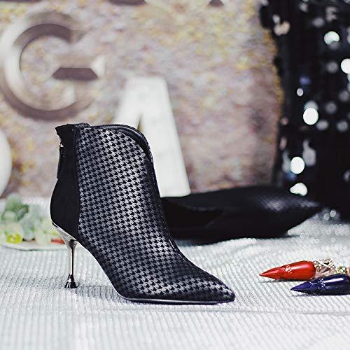 HBDLH Damenschuhe Spitz Spitz Spitz Stiefeletten Mit Hohen 8Cm Gitter Schwarz Persönlichkeit Dünn Und Dünner Ma Dingxue. a5ac49