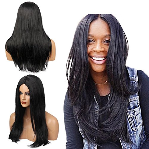 Amazon.com : Huphoon Full Wigs Long Fluffy Straight Front Bangs Gray Gradient Color Natural Curly Syntheic Fiber Hair (B) : Beauty