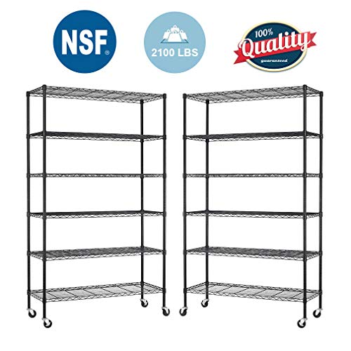 BestOffice 6 Tier Adjustable Wire Metal Shelving Rack, 82x48x18-Inch, Black (2) (Metal Shelf Wheels)