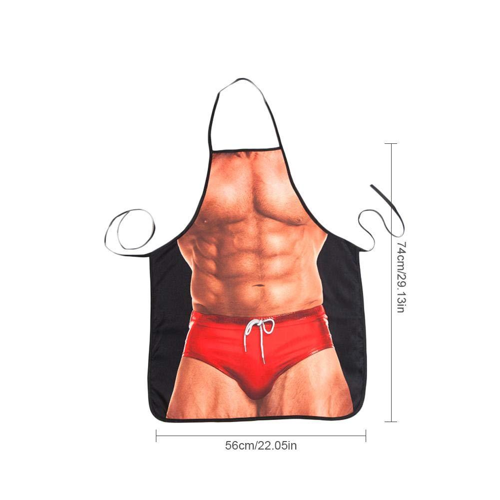 Delantal de Cocina Hombre Musculoso Ropa de Trabajo para Cocinar y Barbacoa Personalizada Divertido y Novedoso Forma de