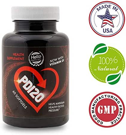 PD120® High Blood Pressure Supplement to Lower BP Naturally - Premium Cardiovascular Heart Health Supplements - CoQ10, Vitamin D, L-Theanine for Hypertension & Stress Reduction - 60 Softgels