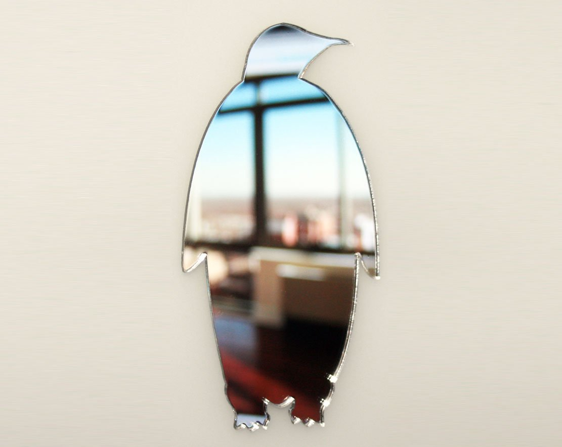 Penguin Mirror - Available in various sizes, including sets for crafting kits - 35cm x 17cm