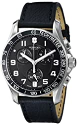 "Victorinox Men's 241493 ""Chrono Classic"" Stainless Steel Watch with Black Leather Band"