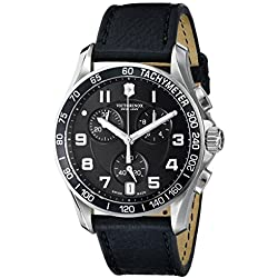 """Victorinox Men's 241493 """"Chrono Classic"""" Stainless Steel Watch with Black Leather Band"""