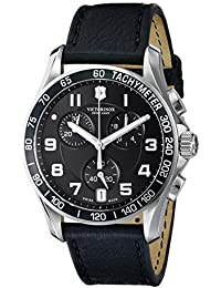 Mens Chrono Classic Swiss Quartz Stainless Steel and Leather Casual Watch, Color: