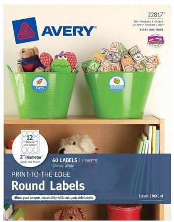 Avery 22817 2 in. Diameter Round Glossy White Print To The E
