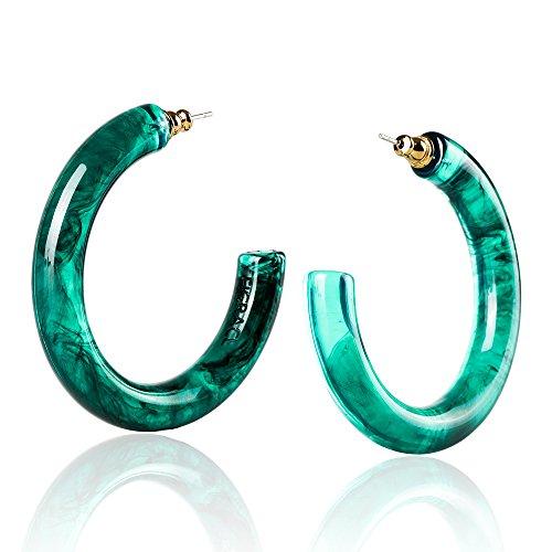 - Clear Hoop Earrings with Lightweight Bohemia Acrylic Resin Hoops Earrings, Diameter 2