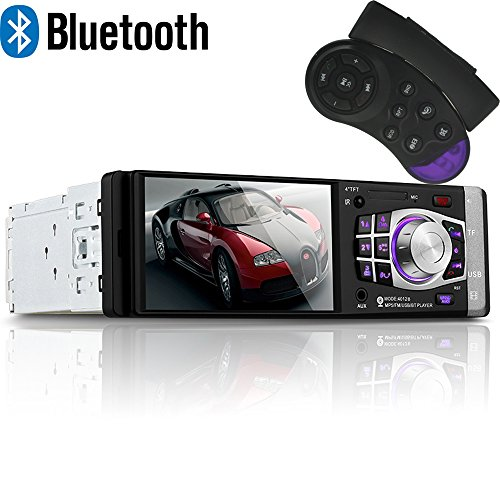 (PolarLander 4.1 Inch TFT Screen Car Radio Audio Stereo Mp3 Mp4 USB SD Aux in Player with Steering Wheel Remote Control Support Rear View Camera Bluetooth Hands Free)